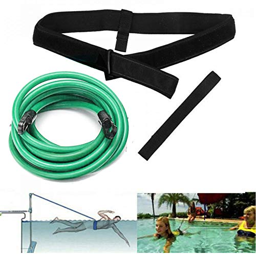 FOOING Einstellbare Pool Schwimmgürtel, Schwimmwiderstand Gürtel Schwimmtraining Bungee Durable Schwimmgurt Bremsschirm und Elastikband für Schwimmingpools Widerstandstraining