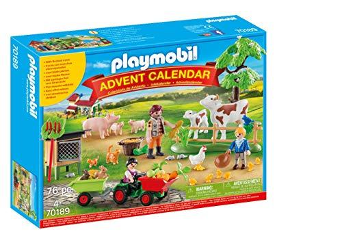 PLAYMOBIL Adventskalender 70189 Auf dem Bauernhof mit zahlreichen Figuren, Tieren und Zubehörteilen hinter jedem Türchen inkl. Baunhofdiorama, 76-teilig, Ab 4 Jahren