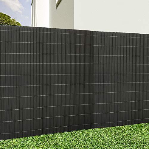 Aufun PVC Sichtschutzmatte, Sichtschutzzaun Sichtschutz Windschutz Gartenzaun für Garten Balkon Terrasse Außenbereich Swimming Pools - 180x500cm Anthrazit