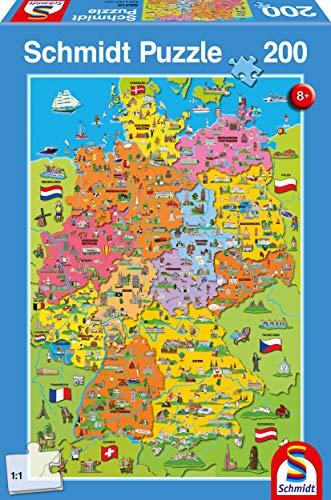 Schmidt Spiele Puzzle 56312 Deutschlandkarte mit Bildern, 200 Teile Kinderpuzzle, bunt