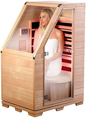 newgen medicals Infrarotkabine: Kompakte Infrarot-Sitzsauna aus Hemlock-Holz, 760 W, 0,62 m² (Sitzsauna für Zuhause)