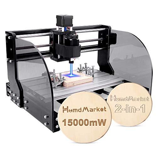 【2 In 1】CNC Fräsmaschine Laser Engraving Machine 3018 Pro Max GRBL Steuerung Perfektes Set für Anfänger und HobbyHolz Router Stecher mit Offline-Controller XYZ Arbeitsbereich 300x180x45mm (15W)