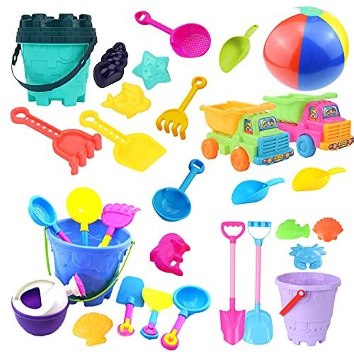 iHAZA Sandspielzeug Sandkasten Set mit Sand Förmchen Soft Plastic Truck, Gießkanne, Wasserrad, Eimer, Schaufel Werkzeugsätze für Kinder Outdoor