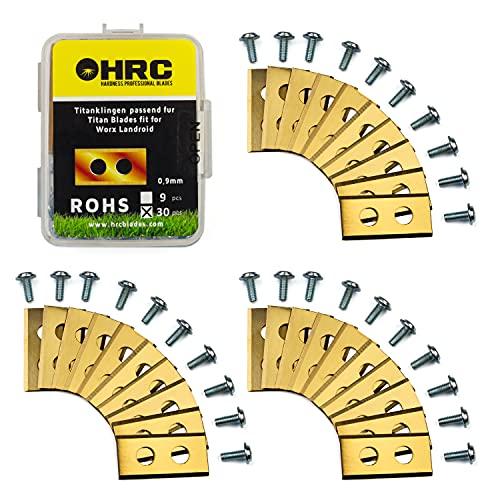 HRC Titanium Ersatzklingen, Kompatibel mit Mähroboter Worx Landroid, Langlebige Klingen aus rostfreiem Stahl, inklusive Schrauben, 30 Stück