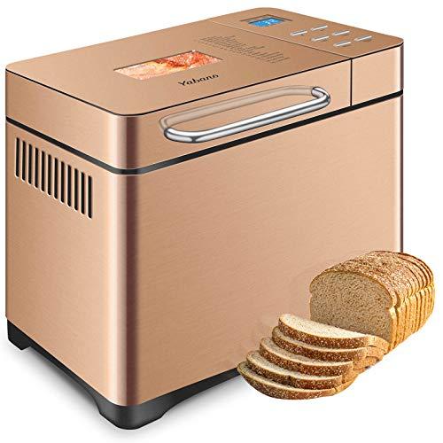 Edelstahl Brotbackautomat mit Spender, 19 automatische Programme, Touchscreen, hohe Empfindlichkeit, Brotmaschinen, 15 Stunden Timer, 3 Brotgrößen, 3 Farben