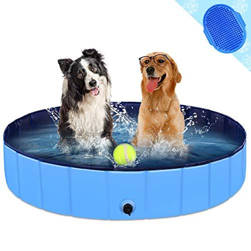 KingBaas Hundepool Faltbarer Hund Planschbecken Kinder Schwimmbecken Tragbares Haustier Swimmingpool Kinderpool Hundebadewanne PVC rutschfest Großes Hund Katze Doggy Pool für Innen/draussen 48'x 12'