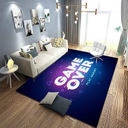 yiwangle 3D Gedruckte Bodenmatte,Nachtteppiche,Vector Illustration Word Game Over Play Again In Cyber Noise Glitch Design,Bodenteppich,Polyesterfaser,Bodenmatte,Wohnzimmerteppich,Rutschfester Teppich