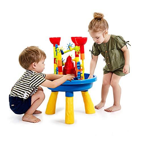 GOPLUS Sand- und Wasserspieltisch mit viele Zubehör, Sandkastentisch für Kinder ab 3 Jahre, Spieltisch für den Innen- und Außenbereich, Kleinkinder, Jungen, Mädchen (Modell 2)