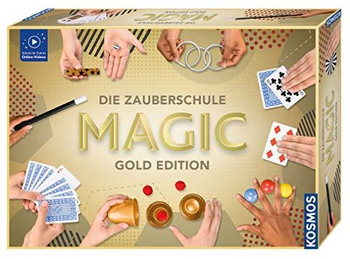Kosmos 698232 Zauberschule Magic Gold Edition, 150 ZauberTricks von leicht bis anspruchsvoll, viele magische ZauberUtensilien, Zauberkasten für Kinder ab 8 Jahre und Einsteiger, inkl. OnlineErklärVideos