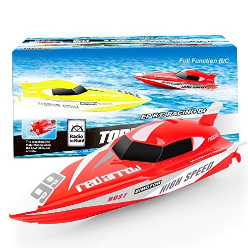 GizmoVine Ferngesteuertes Boot, RC Spielzeug Boot Kinder, 2,4-GHz Fernbedienungs Boot für Pools und Seen (901-rot)