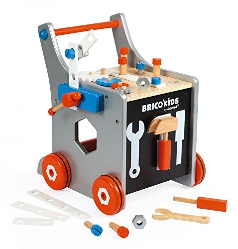 """Janod J06478 """"Brico'Kids"""" Holz-Werkbankwagen für Kinder, magnetisch, Fantasiespielzeug, mit 25 Werkzeugen und Zubehör, für Kinder ab 18 Monaten, mehrfarbig"""
