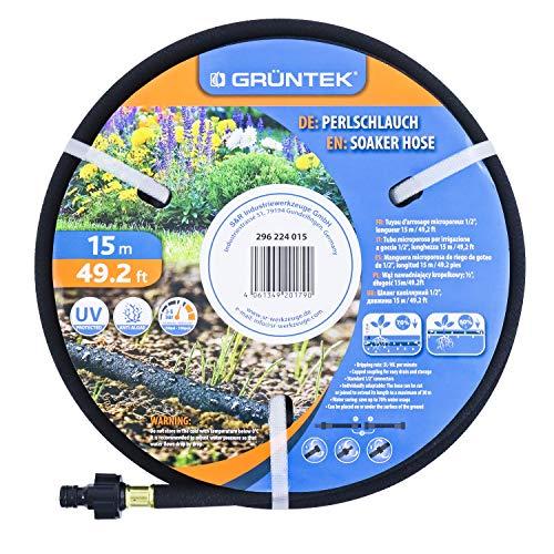GRÜNTEK Tropfschlauch, Perlschlauch 15m mit Verbindungsstück 1/2', UV- und Algen-Schutz, bis zu 70% wassersparender Perl-Regner für Umwelt- und pflanzenschonende Bewässerung