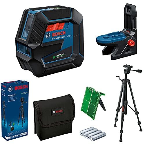 Bosch Professional Linienlaser GCL 2-50 G (grüner Laser, Halterung RM 10, Stativ BT 150, sichtbarer Arbeitsbereich: bis 15 m, 4x AA-Batterie, in Kartonschachtel)