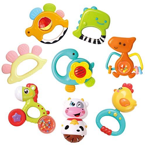 REMOKING Rassel Beißring Babyspielzeug, Silikon Babyrassel Beißring Set ohne BPA, Früherziehung Spielzeug für 0,3,6,9,12 Monate Kleinkinder