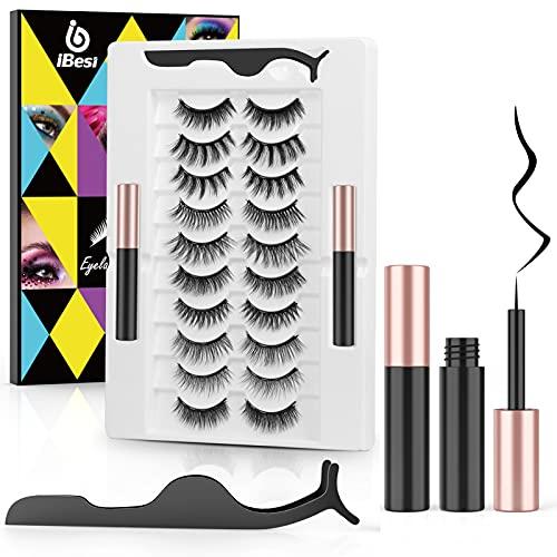 iBesi Magnetische Wimpern, 10 Paar Softe und Wiederverwendbare 3D 5D Magnet Künstliche Wimpern Set, 2 Magnetisch Eyeliner Kein Wimpernkleber, 100% Handgefertigte Falsche Wimpern, Wasser- und Winddicht