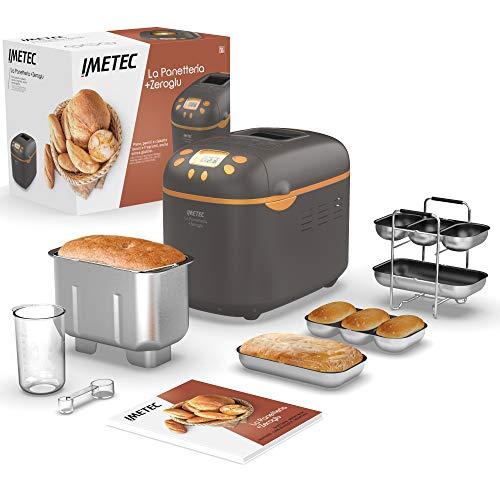 Imetec La Panetteria +Zeroglu, Gerät für Brot, Ciabattas, Brötchen und Kuchen mit natürlichen und glutenfreien Mehlsorten, 20 Programme, 2 Rührschaufeln, kontrollierte Aufgehtemperatur, Rezeptheft