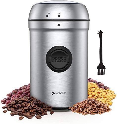 Hosome Kaffeemühle Elektrische Propellermühlen, 80g Kapazität Getreidemühle 304 Edelstahl klingen 25000 U/min Leistungsstarker Motor 55 dB Geräuscharme mit Reinigungsbürste, für Kaffeebohnen Nüsse