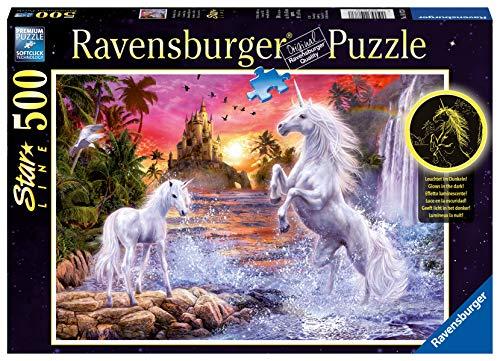 Ravensburger Puzzle 14873 - Einhörner am Fluss - 500 Teile Puzzle für Erwachsene und Kinder ab 10 Jahren, Leuchtpuzzle mit Einhörnern, Leuchtet im Dunkeln