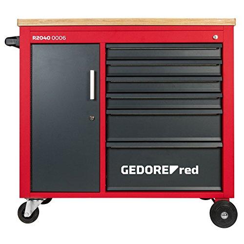 GEDORE red Werkstattwagen MECHANIC PLUS, Werkzeugwagen mit 6 Schubladen und Holzplatte, Rollwagen, leer, R20150006
