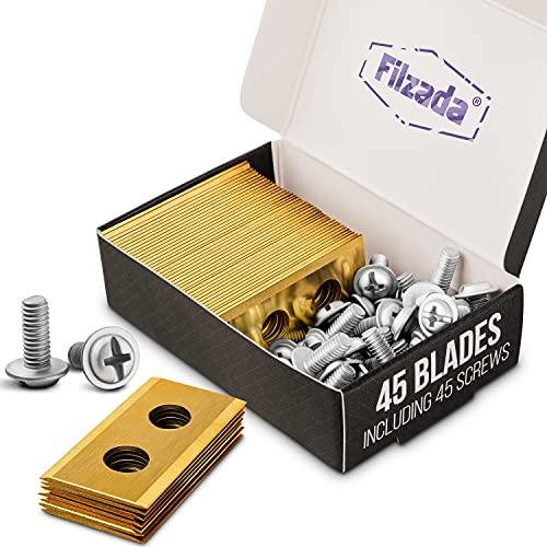 Filzada® 45x Titan Ersatzklingen geeignet für alle Worx Landroid Mähroboter - Ultrascharfe Ersatzmesser - kompatibel inkl. 45 Schrauben - Klingen auch geeignet für LandXcape, Zoef Robot und Einhell
