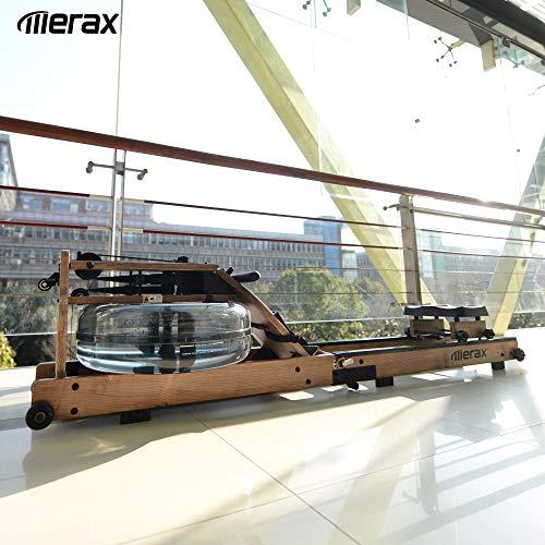 Merax Wasser-Rudergerät mit Faltfunktion,Water Ruderzugmaschine mit App-Kinomap,LCD-Monitor,Bluetooth, Indoor Training Rudergerät