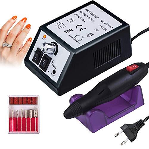 Aibeau Elektrisch Nagelfräser Fräser Nagelfeile Maniküre Set, 20000u/Min Einstellbarer Geschwindigkeit für Acrylnägel Gelnägel Kallus Entfernen