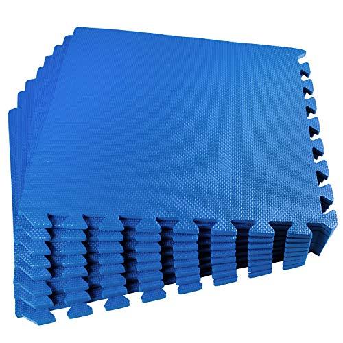 Poolunterlegmatte blau 50x50x1cm 80 teilig - 20m² - mit Rand - Eva - Pool Bodenschutz Poolmatte Bodenmatte Swimmingpool - Unterlage Schutz Stecksystem Puzzelmatte - Fitness Sportmatte Trainingsmatte