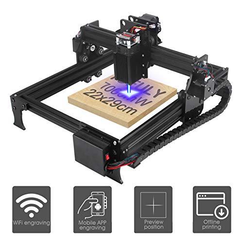 Yofuly Grundstufe JL1 7W Laser Graviermaschine, 10 Minuten Installation, automatische Positionierung, Vorschaupositionsfunktion, kann Offline-USB-Drucken, Arbeitsbereich 290mm x 220mm