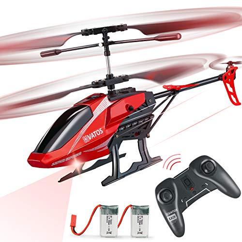 VATOS Hubschrauber Ferngesteuert RC Helikopter: Höhenlage Hobby Flugzeug mit 2 Batterien Kreisel & LED Licht 3,5 Kanal Micro Alloy Mini Military Serie Indoor Spielzeug Geschenk für Jungen Erwachsene