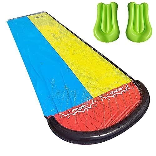 red dieny Groß Rasen Wasserrutschen Für Kinder Und Erwachsene, 480 Cm Garten Spaß Wassersprühspielzeug Reißfester Wasserrutschmatte Im Freien Mit Mit 2 Luftmatten