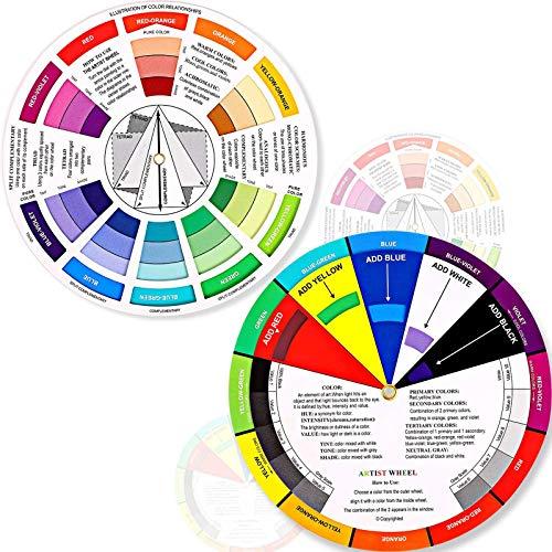 Outus 2 Stücke Farbrad, Farbmischung Lernhandbuch Kunstunterricht Werkzeug Farbräder für Makeup Mischbrett Diagramm Farbmischung Handbuch Mischfarben (5.5 Zoll/ 14 cm)