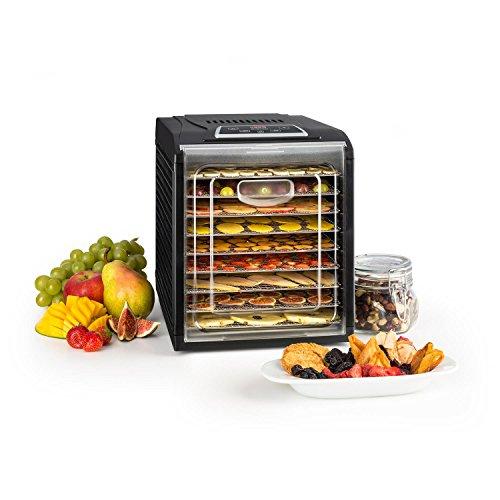 Klarstein Fruit Jerky 9 - Dörrautomat, Dörrgerät, Obst-, Fleisch- und Früchte-Trockner, Antihaftbeschichtung, einstellbare Temperatur, programmierbarer Timer, einfache Reinigung, schwarz