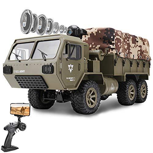 le-idea Ferngesteuerte Fahrzeuge - 6WD Militärfahrzeug Auto mit HD FPV WiFi Kamera 1/12 Konstruktion RC LKW Auto Spielzeug Geburtstag Kinder Kinder Jungen und Mädchen