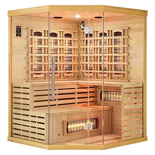 Artsauna Infrarotkabine Kiruna150 Dual Technologie – 8 Vollspektrumstrahler & 1 Flächenstrahler – 3 Personen – LED Farblicht – Radio - Hemlock-Holz
