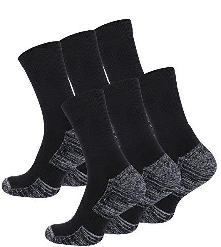 6 Paar Multifunktionssocken Outdoorsocken mit Polstersohle Trekking - Wandersocken(39-42, schwarz-grau meliert)