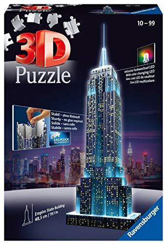Ravensburger 3D Puzzle Empire State Building bei Nacht, für Kinder und Erwachsene, Wahrzeichen von New York im Miniatur-Format, Leuchtet im Dunkeln