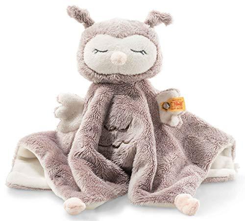 Steiff Ollie Eule Schmusetuch - 26 cm - Kuscheltier für Babys - Soft Cuddly Friends - weich & waschbar - rosebraun/creme (241857)