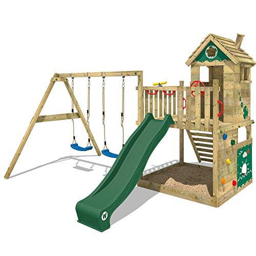 WICKEY Spielturm Smart Lodge 120 Kletterturm Baumhaus Garten mit Spielhaus, Doppelschaukel, großem Sandkasten, Kletterwand, grüne Rutsche + grüne Plane
