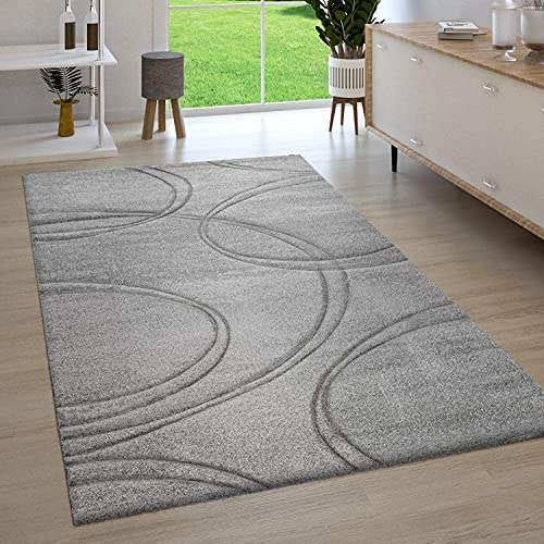 Paco Home Teppich Wohnzimmer Kurzflor 3D Optik Handgearbeiteter Konturenschnitt Modern Einfarbig, Grösse:120x170 cm, Farbe:Grau