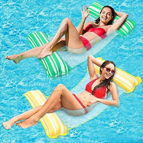 lenbest Wasser Hängematte 2er Pack, aufblasbare Poolliege Float Hängematte Luft Leichter schwimmender Stuhl Bett Raft Liege und tragbarer Pool Beach Whirlpool Matte Spielzeug für Kinder Erwachsene
