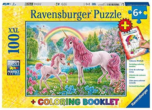 Ravensburger Kinderpuzzle - 13698 Magische Einhörner - Einhorn-Puzzle für Kinder ab 6 Jahren, mit 100 Teilen im XXL-Format, inklusive Malheft