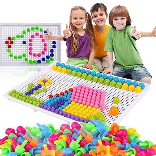 592 Stecker Puzzle Steckspiel Pilz Nägel Pädagogische Baustein Spielzeug Kreative DIY Mosaik Spielzeug Steckpuzzle Lernspielzeug Geburtstag Weihnachtsfest-Geschenk für Kinder Baby ab 3 Jahre alt