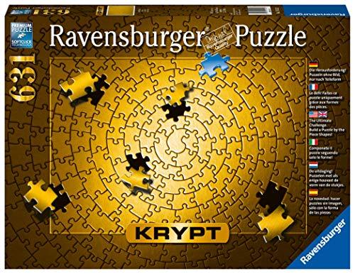 Ravensburger Krypt Puzzle, Schweres Puzzle für Erwachsene und Kinder ab 14 Jahren, Gold, 631 Teile: Die Herausforderung! Puzzeln ohne Bild, nur nach Teileform