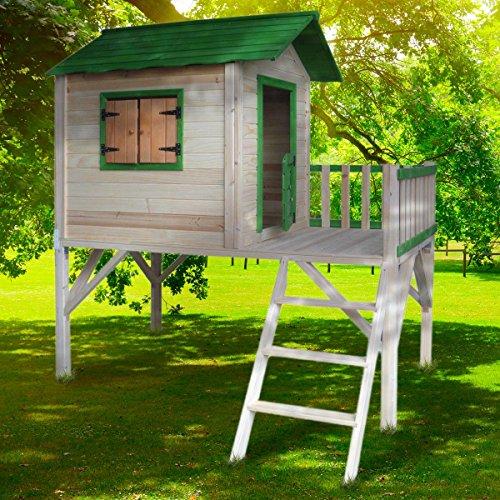 BRAST Spielhaus für Kinder mit Balkon Stelzenhaus Adventure 167x191x216cm Kinder-Haus Turm Holz Spielehaus