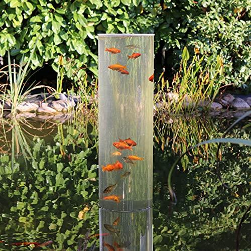Wasserkunst Fischsäule 100 cm x 20 cm Durchmesser | Fischturm aus PLEXIGLAS | Fischfahrstuhl für Fische | 3 mm Wandstärke aus transparentem Acrylglas für Goldfische für Ihren Teich