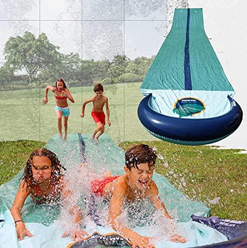 TEAM MAGNUS Wasserrutsche XXL (950x160cm) - Slip und Slide aus strapazierfähigem 0.22mm PVC (9.5m Wasserrutsche)