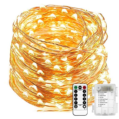 Upgraded Fairy Lights Battery Powered 20M/66ft 200 LEDs Waterproof Copper Wire Lights Christmas Lights with 8 Modes LED String Lights for Outdoor, Indoor, Wedding, Garden Party (Warm White)