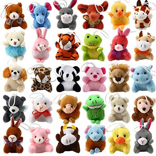 LYKJ-karber Püschtier Kuscheltier 28 Stück kleine Tiere Schlüsselanhänger Kinderparty Spielzeug Set Geschenk für Jungen Mädchen Kinder Baby
