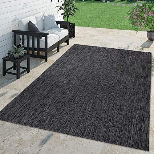 TT Home Teppich Für Outdoor Küchenteppich Balkon Terrasse Unifarbenes Design Modern, Farbe:Anthrazit, Größe:300x400 cm