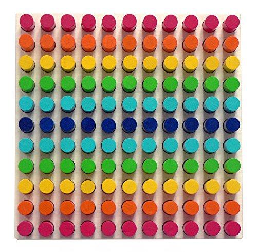 Hess Holzspielzeug 14866 - Farben-Steckspiel aus Holz mit 121 Steckern inklusive 6 Steckvorlagen, für Kinder ab 3 Jahren, handgefertigt, unterhaltsamer Spielspaß mit Lerneffekt